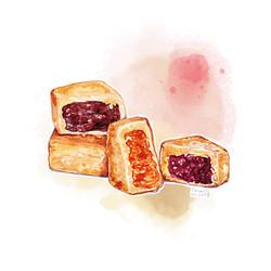 藍莓酥、陳皮豆沙酥及奶黃酥