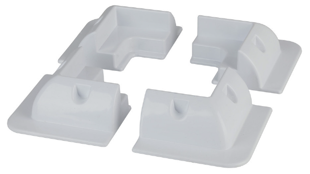 White ABS Solar Panel Corner Mounting Brackets - Set of 4