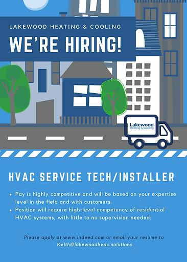 Hiring HVAC Service Tech