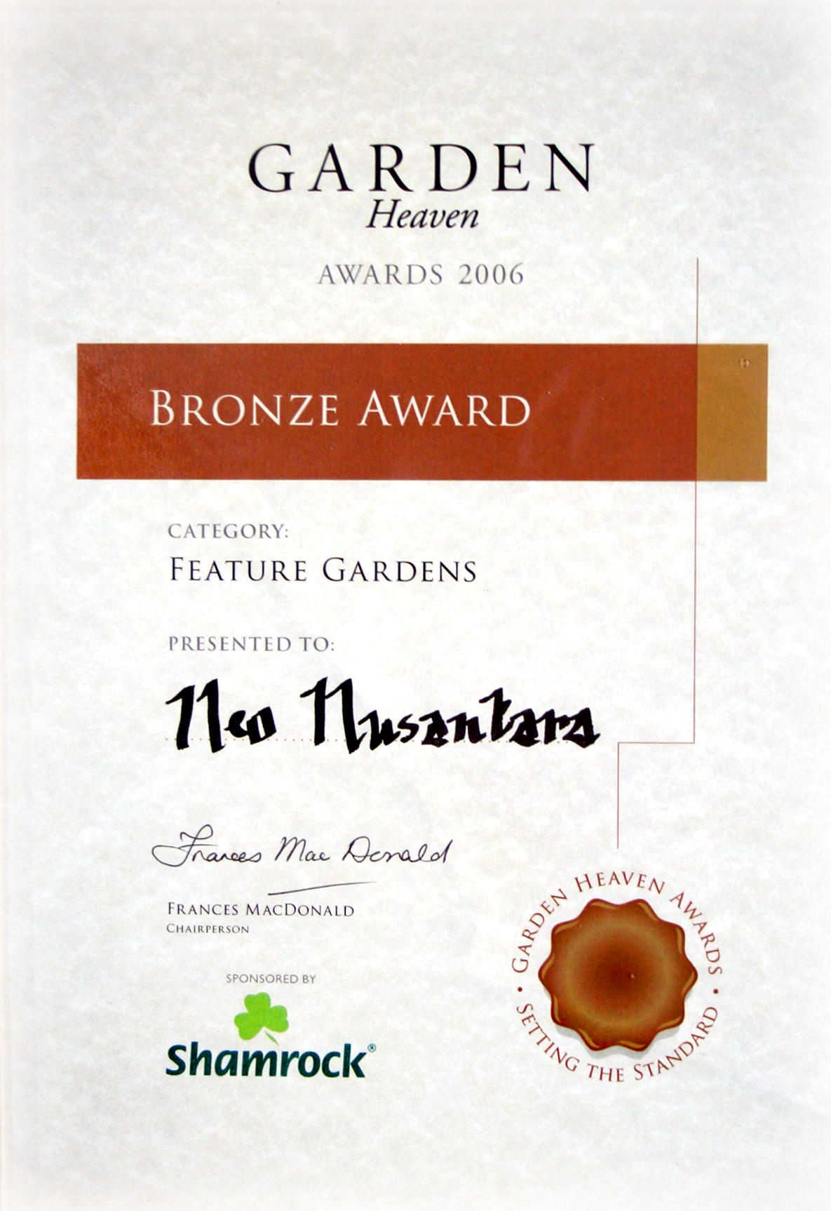 Ireland Garden Heaven Bronze Award certi