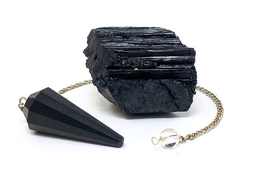 Black Tourmaline Raw Crystal and Pendulum