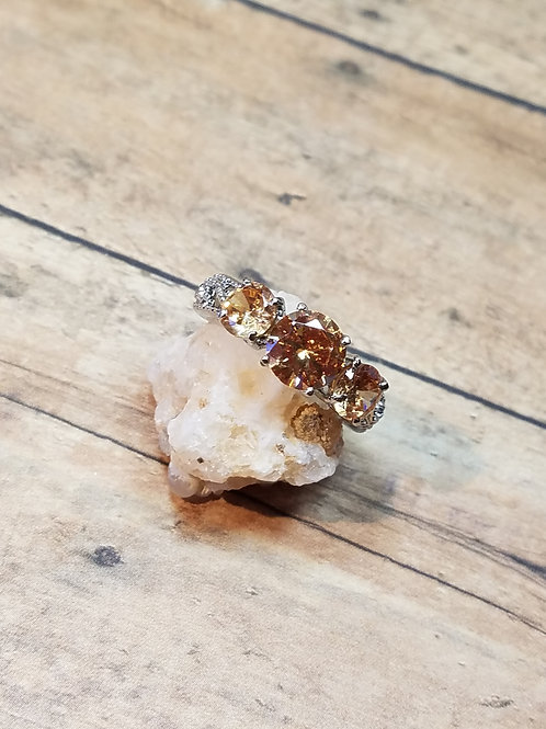 Stainless Steel Amber Simulated Diamond (Size 7)