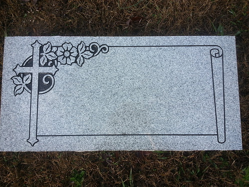"Granite Headstone 2'x1'x4"" with Cross and Scroll"