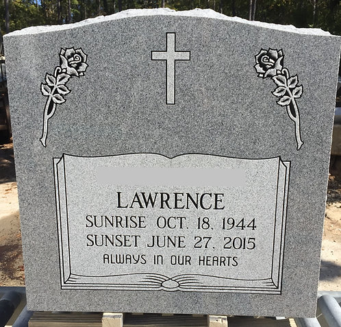 Large Gray Single or Companion Memorial Die & Base