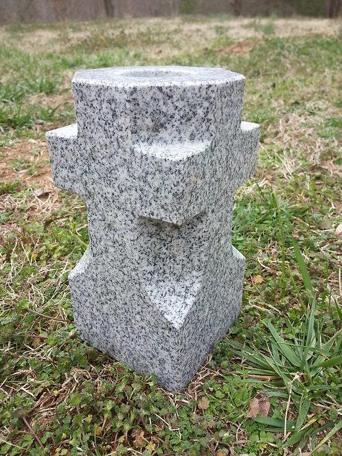 """Cross Granite Vase 4""""x4""""x8"""" (Gray or Black)"""