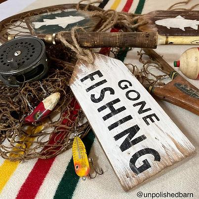 gone fishing sign wood