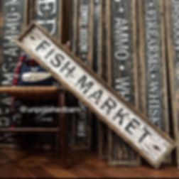 wood fish market sign, beach house sign