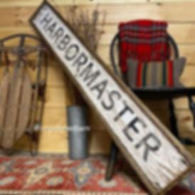 harbormaster wood sign, coastal sign