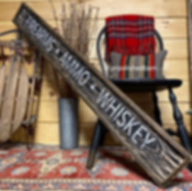rustic wood whiskey sign, gun room sign