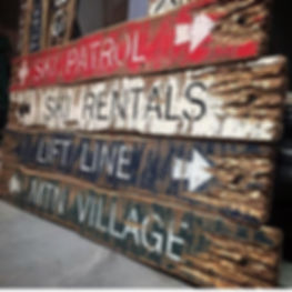 ski decor, wood skiing signs
