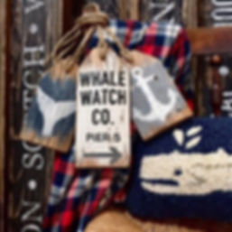 wooden whale sign, wood whale watch sign