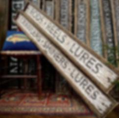 rustic wood fishing signs