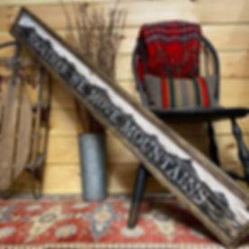 wood mountain sign, rustic cabin signs