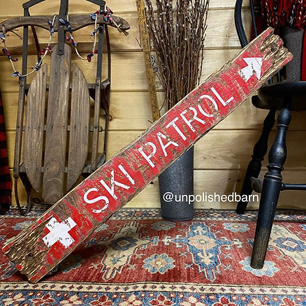 wood ski patrol sign