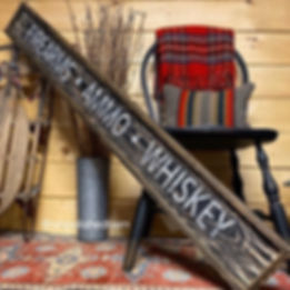 firearms ammo whiskey wood sign