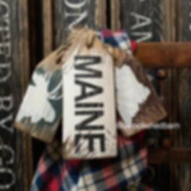 rustic wood maine moose sign