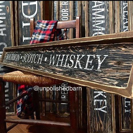 Wood whiskey sign