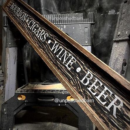 rustic wood bar sign, bar decor