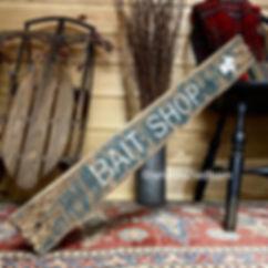 wood bait shop sign, fishing decor