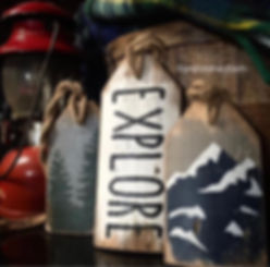 rustic explore sign, wood hiking signs