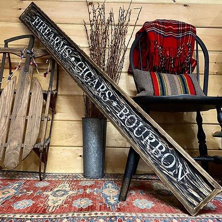 wood cigar bar sign, rustic