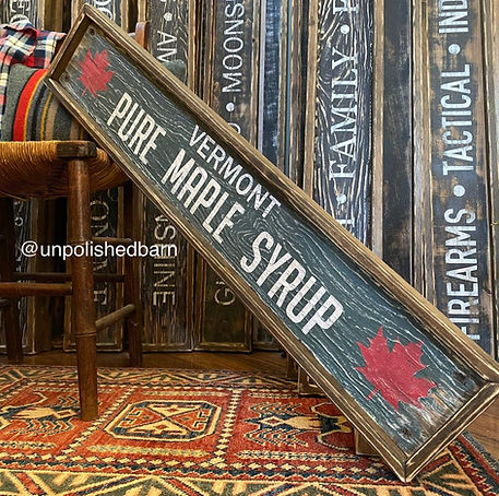 rustic wood vermont maple syrup sign