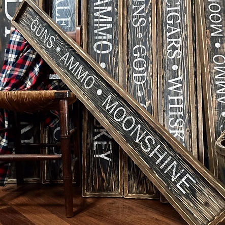 rustic wood moonshine sign, gun room decor