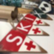 rustic ski banner, ski decor