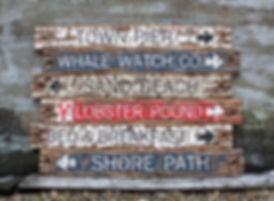 coastal beach signs, wood bar harbor maine sign