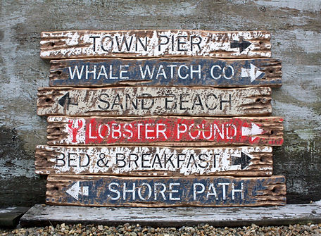 coastal beach signs, wood bar harbor maine sign