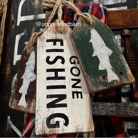 rustic fishing decor, wood fishing sign