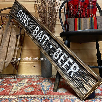 guns bait beer sign, wood fishing sign