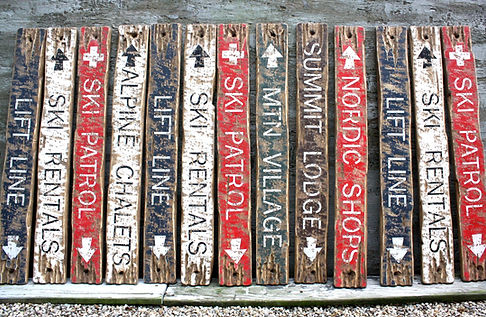 ski signs, rustic ski decor