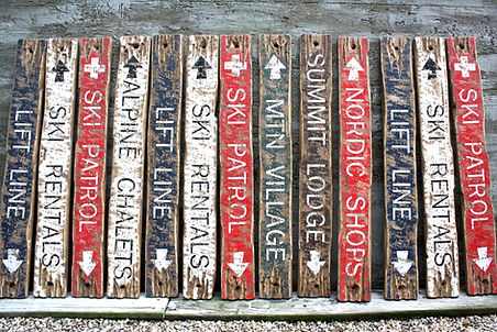 wood ski trail signs