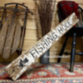 wood fishing sign, rustic fishing decor