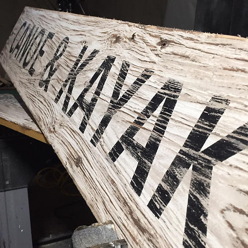 wood canoe sign, rustic kayak sign