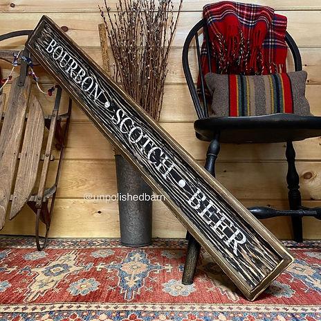 rustic wood beer sign, bar sign