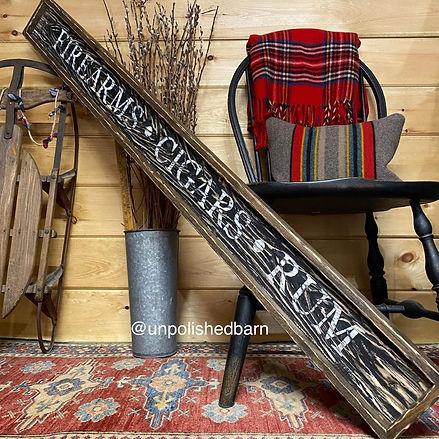 wood cigar sign, cigar room decor
