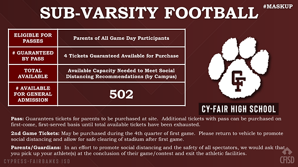 Cy-Fair Sub-Varsity FB Ticket Selling.pn