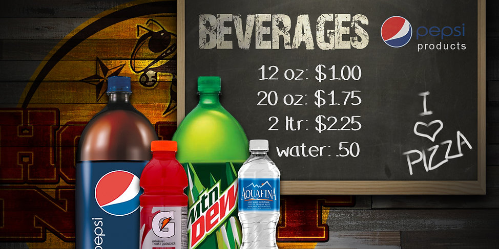 Hornets Nest Pizza offers Pepsi products.