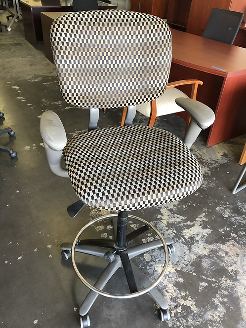 USED Drafting Stool in Checked Pattern