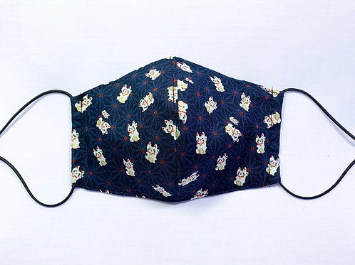 Fortune cats (blue) (fabric mask)