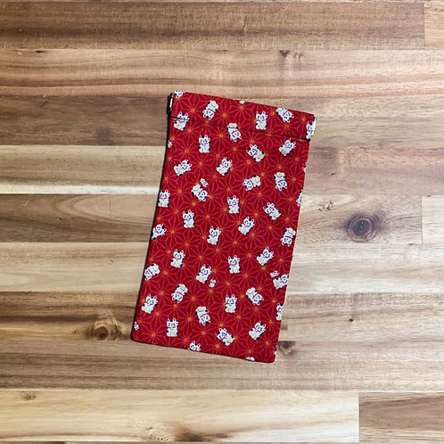 Fortune cats (red) (pinch pouch)