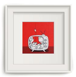 Pesci in tv rosso