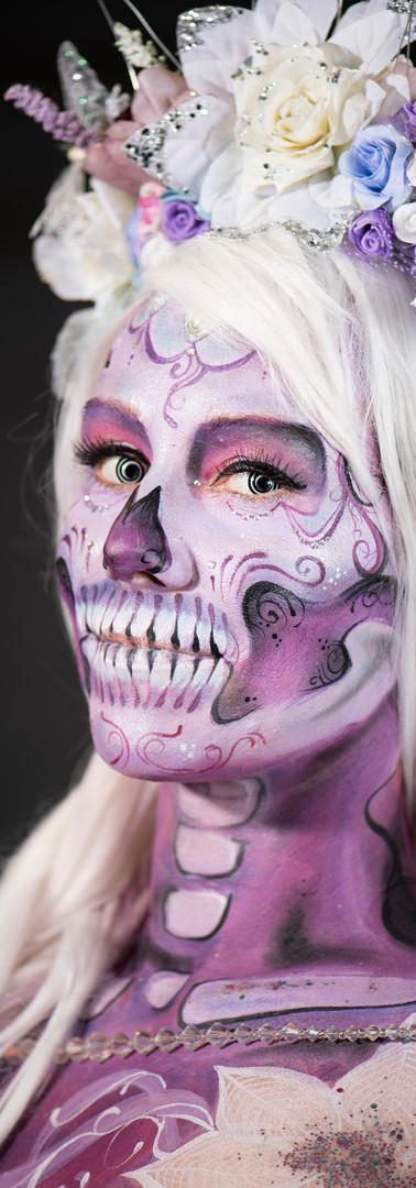 Steph Skull body paint - Painted Peach .