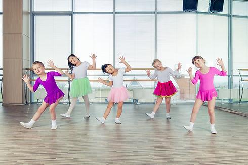 happy children dancing on in hall, healt