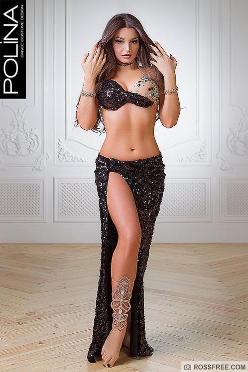 Black sequin bellydance costume