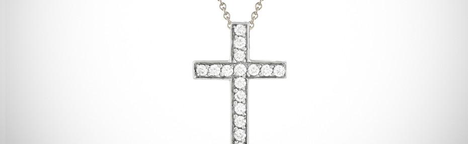 Croix or blanc, diamants, sur chaine, Prix : 1300 euros
