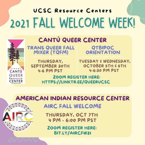 UCSC Resource Centers: Fall Welcome Week Events