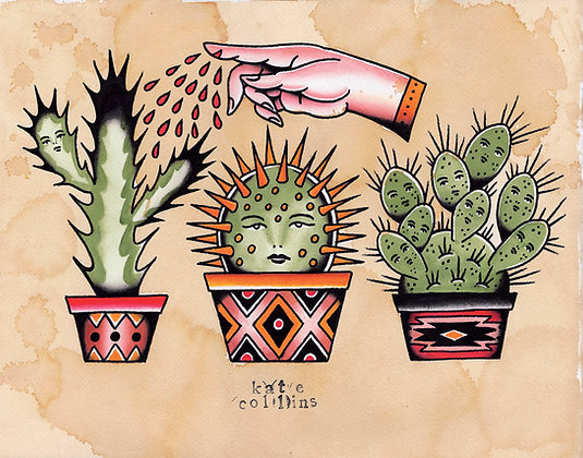 Cactus Tattoo Flash